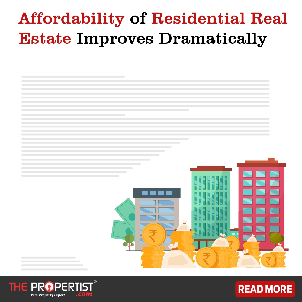 Affordability of residential real estate improves dramatically