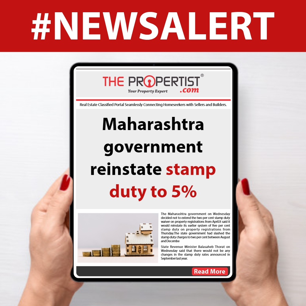 Maharashtra government reinstate stamp duty to 5 percent